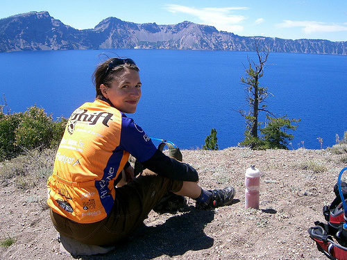 Jess at Crater Lake viewpoint 2007