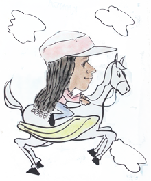 Me drawn in caricature on a flying horse