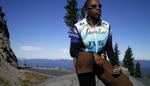 Kronda taking a break from riding around Crater Lake