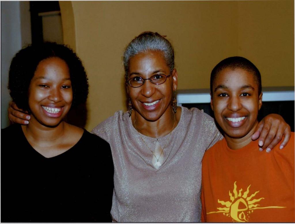 Sister Traci, mom, and me