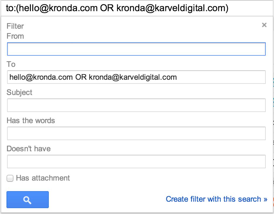 Inbox filter