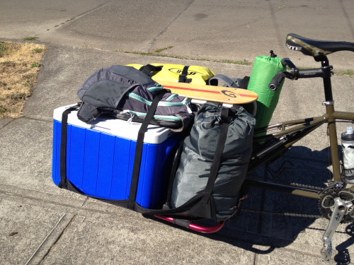 The Big Dummy cargo bike, packed with cooler and sundries for bike camping.