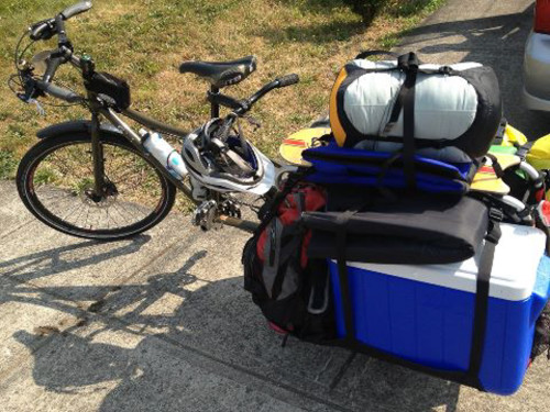 Big Dummy cargo bike, loaded up for camping.