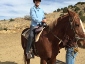 Jess, mounted on her horse, Lilly