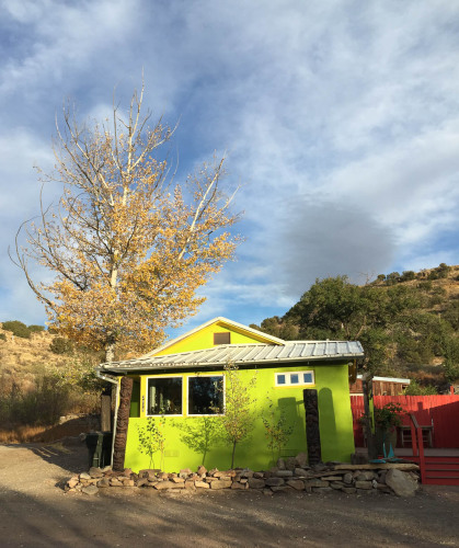 Colorful green house in Madrid, NM