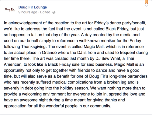 Doug Fir's response to outrage about their racist poster