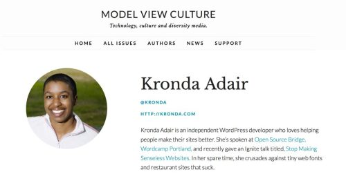Author page screen shot from Model View Culture