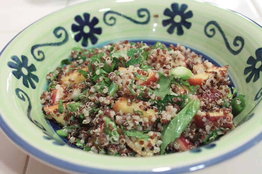 Quinoa peach salad.
