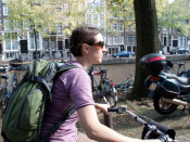 Jess riding carefree through Amsterdam