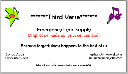 Third Verse Emergency Lyric supply business card